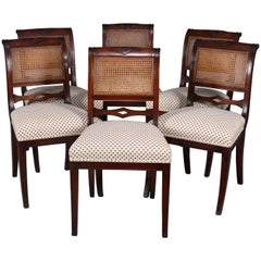 Six English Regency Flame Mahogany Cane Back Upholstered Dining Chairs