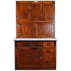 Antique Oak and Enamel Authentic Indiana Hoosier Cabinet, circa 1910