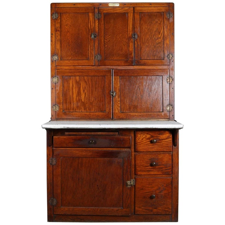 Antique Oak and Enamel Authentic Indiana Hoosier Cabinet, circa 1910 For  Sale - Antique Oak And Enamel Authentic Indiana Hoosier Cabinet, Circa 1910