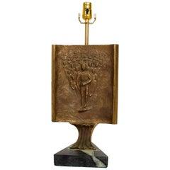 Mid-Century Modern Table Lamp with Italia Bronze Brutalist Sculpture