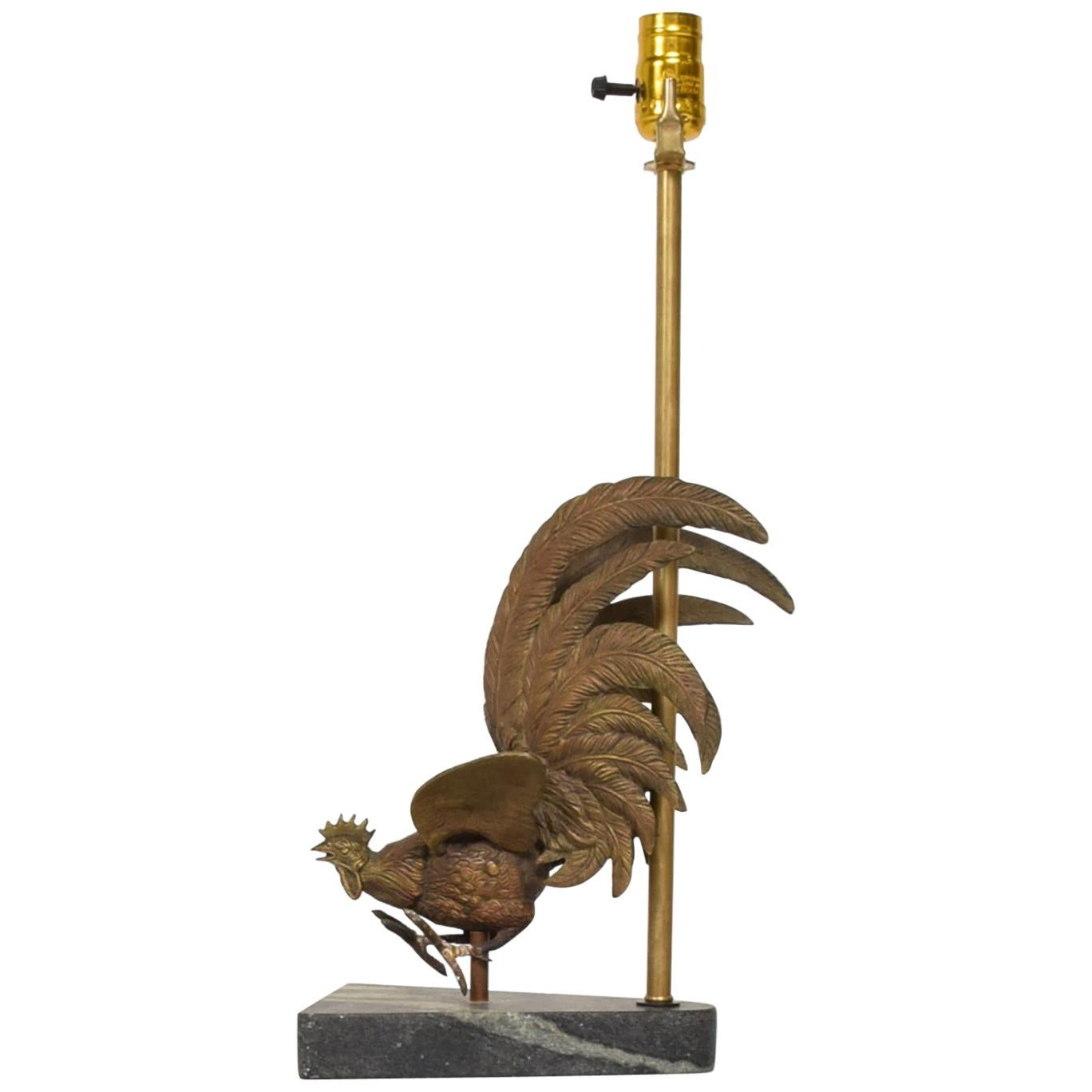 Hollywood Regency Rooster Bronze Sculpture Table Lamp