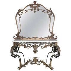 Oversized Antique French Louis XIV Gilt and Marble Console Table with Mirror