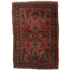 Persian Hand-Knotted Sarouk Wool Oriental Floral and Foliate Rug, circa 1930