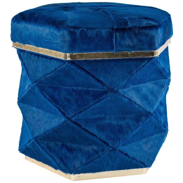 Luxury Blue Cowhide Himalaya Ottoman
