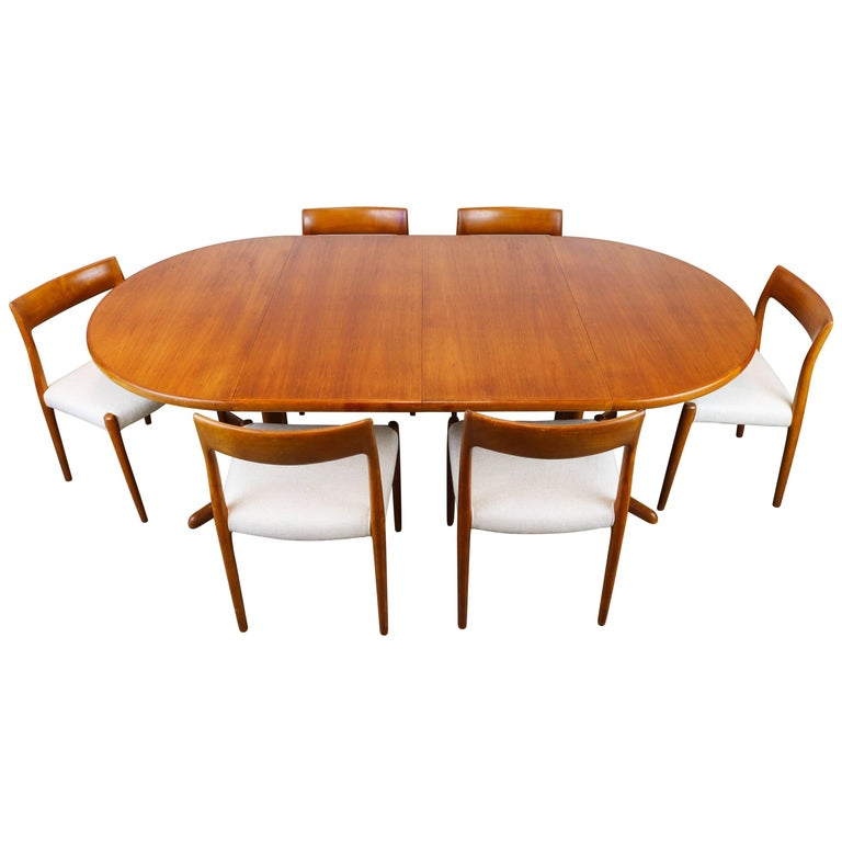 Large Danish Dining Room Set by Niels Otto Møller Teak and White Model 77, 1950