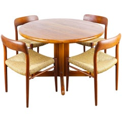 Danish Dining Room Set in Solid Teak by Niels Otto Moller Model 75 Teak & Rattan