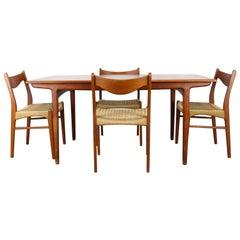Rare Danish Dining Room Set by Ejner Larsen & Aksel Bender Madsen Teak Papercord