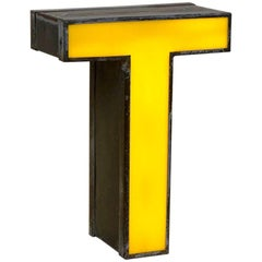1960s Italian Vintage Metal Double-Sided Light Letter T in Yellow