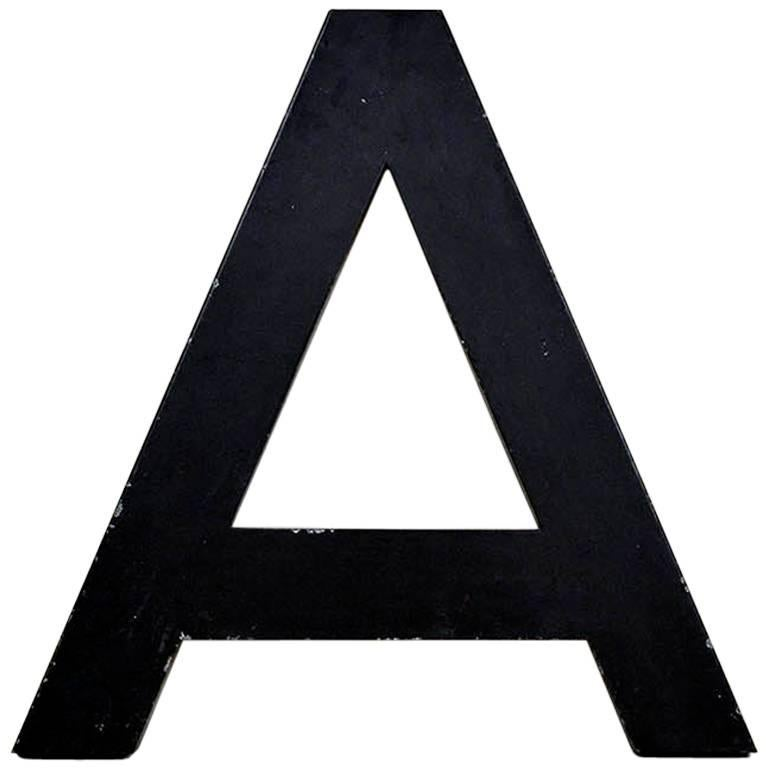 1960s French Vintage Metal Letter A in Dark Brown Outside and Red Inside
