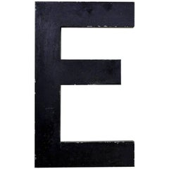 1960s French Vintage Metal Letter E in Dark Brown Outside and Red Inside