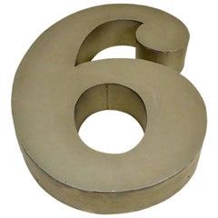 1970s Large French Vintage Greige Metal Number Six or Nine Sign