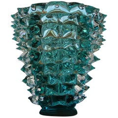 Turquoise Blue Vase in Murano Glass with Spikes Decor, Barovier Style, Rostrato
