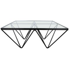Square Black Coffee Table with Glass Top, Italy, 1980s