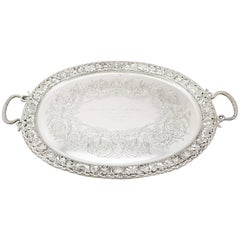 1894 Antique Victorian Sterling Silver Tea Tray by Mappin & Webb Ltd