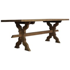 1940s French Bleached Oak Trestle Table