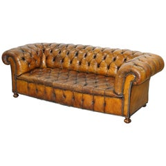 Very Rare Victorian Horse Hair Fully Restored Brown Leather Chesterfield Sofa