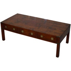 Harrods London Burr Yew Military Campaign Style Coffee Table Three Drawers