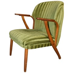 Danish Mid-Century Modern Green Teak Lounge Chair, 1960s