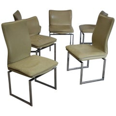 Set of Six Chrome and Cream Leather Dining Chairs