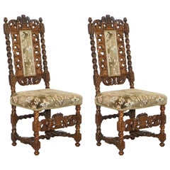 Pair of 18th Century Fruit Wood Carved Chair Cherubs Holding a Crown and Flowers