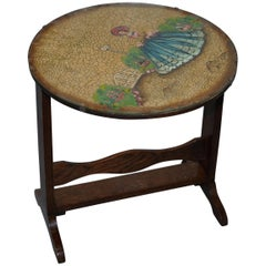 Rare English Oak Tilt-Top Side Table with Hand Painted Picture Glass Case Lovely