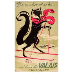 Original Vintage Swiss Winter Sport Ski Poster for Valais Verbier Zermatt Ft Fox