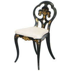 18th Century Very Rare Early Georgian Hand Painted Chinoiserie Ebonized Chair