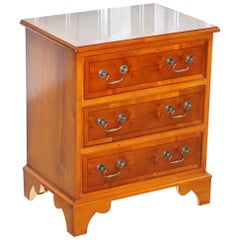 Small Burr Yew Wood Side Table Sized Chest of Drawers Great for Office Home Bed