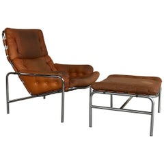 1970s Lounge Chair Plus Ottoman SZ09 Nagoya by Martin Visser for Spectrum