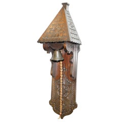 Stunning Antique Hand-Carved Wood Victorian Door Entrance Bell Grand Piece