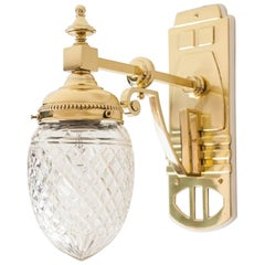 Jugendstil Wall Lamp with Original Glass Shade, circa 1910s
