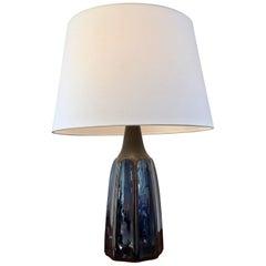 Vintage Blue Danish Ceramic Table Lamp by Einar Johansen for Soholm Stentoj