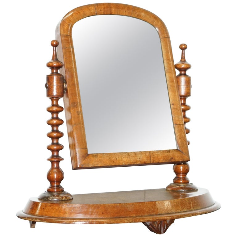 Stunning Georgian Cheval Tabletop Toilet Dressing Table Walnut Plate Mirror For