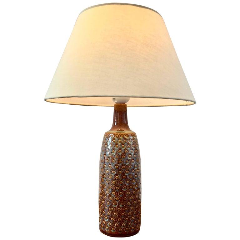 Vintage Brown Danish Ceramic Table Lamp by Einar Johansen for Soholm Stentoj