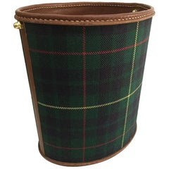 Paper Waste Basket, Leather Stitched with Scottish Pattern Fabric, 1960s