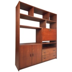 Mid-Century Modern Walnut Bookcase or Room Divider