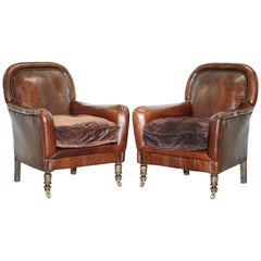 Pair of Very Rare Aged Brown Alligator or Crocodile Leather Patina Armchairs