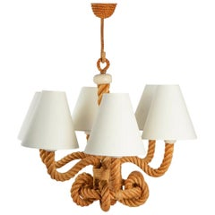 1950 Large Audoux and Minet Rope Chandelier