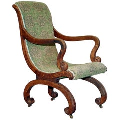 Original Red Wood Framed William IV Library Reading Slipper Armchair, circa 1830