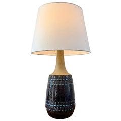 Large Vintage Blue Danish Ceramic Lamp with Geometrical Pattern by Soholm