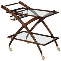 Mahogany Mid-Century Modern Bar Cart Italian Designer Cesare Lacca, 1960s