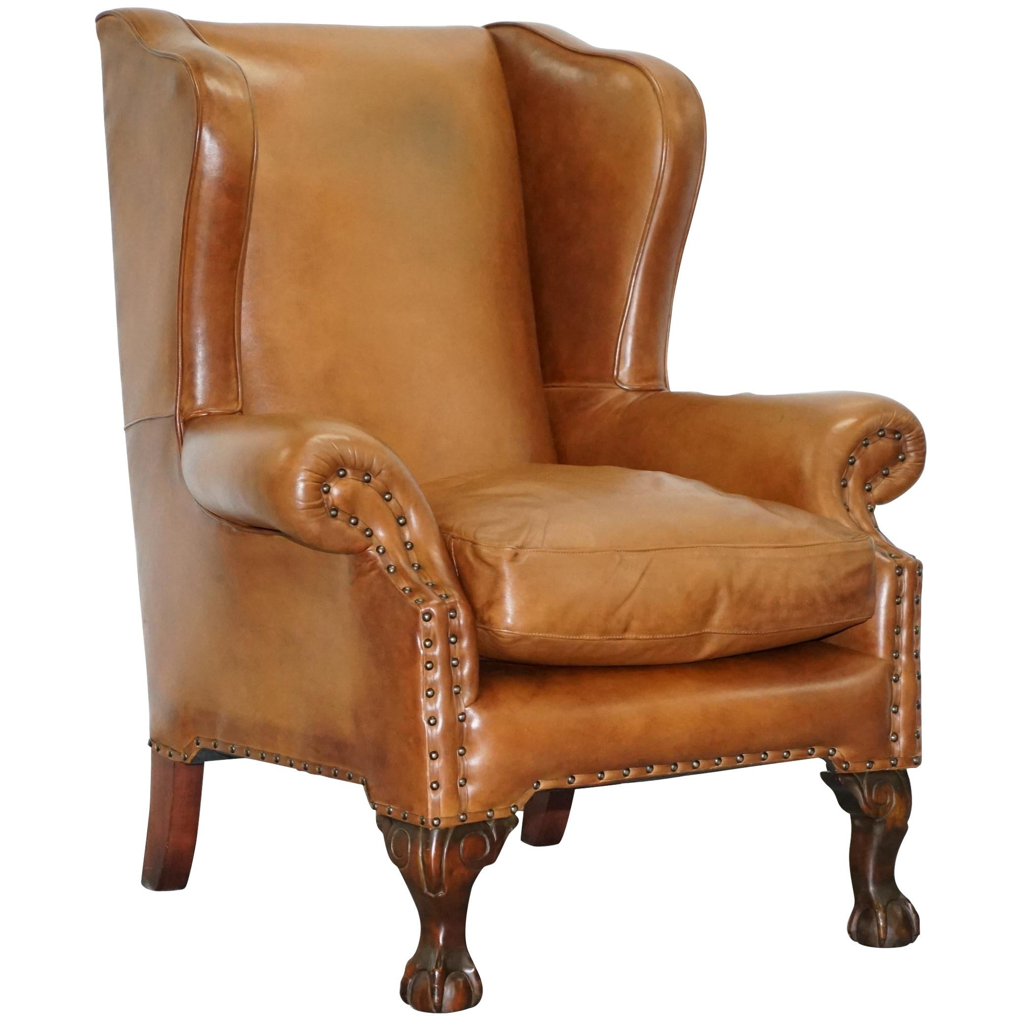 John Lewis Wingback Compton Brown Leather Armchair Feather Filled