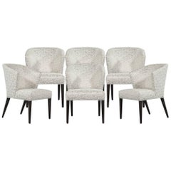 Set of Six Custom Curved Back Modern Dining Chairs by Carrocel