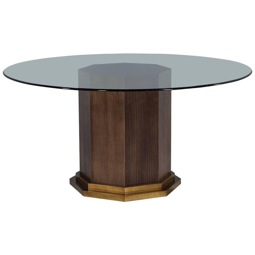 Custom Round Glass Top Table With Solid Walnut Hexagon Pedestal By Carrocel
