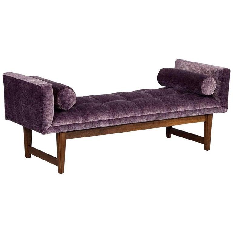 Purple Velvet Mid-Century Modern Bench Settee