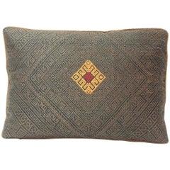 Vintage Brown and Orange Tribal Woven Silk Petite Decorative Pillow