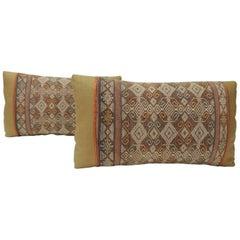 Pair of Woven Orange Ikat Vintage Linen Lumbar Decorative Pillows