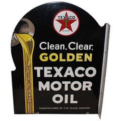 Texaco Golden Motor Oil D.S. Porcelain Advertising Flange Sign, 1930s