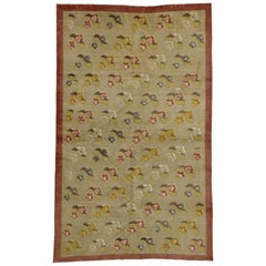 Vintage Turkish Oushak Rug with Flower Pattern in Farmhouse Style