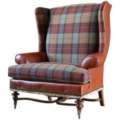 Highland Wingback Chair, an Italian leather brown tweed wool bronze lounge chair